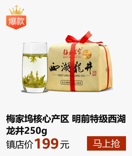 梅府茗家 2017年新茶春茶 梅家坞明前特级西湖龙井茶绿茶 250g