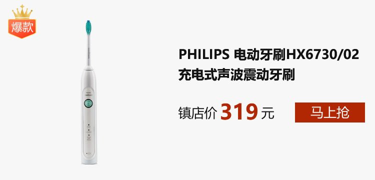 PHILIPS 飞利浦 电动牙刷HX6730/02成人充电式声波震动牙刷雾白
