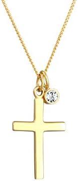 ELLI BY JULIE & GRACE 纯银十字架宗教施华洛世奇水晶吊坠项链,925 纯银项链女士银链,长度17.75 英寸(约 45 厘米),