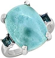 YoTreasure 11.18 克拉拉利玛尔伦敦蓝色托帕石纯色 925 纯银戒指