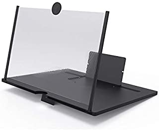 屏幕放大器 12 英寸(约 30.5 厘米),可折叠,适用于几乎所有智能手机型号,适用于观看电影、视频、游戏、在线课堂、FaceTime 等(黑色)