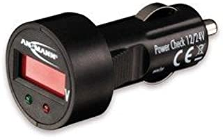 ANSMANN Power Check 12/24V 电压计 / 测试设备和 LED 电压表 适用于点烟器 / 适用于 12V & 24V 汽车电池 / 带 LED 显示屏
