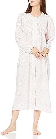 GUNZE 郡是 Negrege *棉 平滑 长袖睡袍 带下摆按扣 女士 TN4381