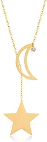 GELIN 14k 纯金 0,01 克拉钻石月亮星吊坠 Y 型项链,女式 45.72 厘米