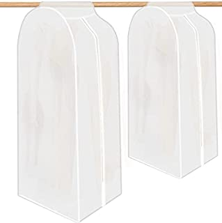 服装袋 大号半透明防尘防潮 悬挂衣柜 储物服装 衣服套 带魔术胶带和拉链 非常适合连衣裙、西装、外套、夹克和长衣服