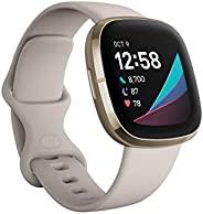 Fitbit Sense 搭载Alexa/GPS 智能手表 Lunar White/Soft Gold Lunar 白色/软金色 L/S 尺寸 [日本正品]