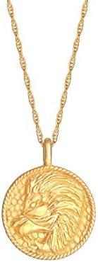 Elli by Julie & Grace 纯银星座标志狮子硬币吊坠项链,925 纯银项链,女士银链,长度17.75 英寸(约 45 厘米),