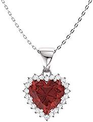钻石天然和认证心形切割宝石和钻石光环项链 14k 白金 | 1.14 克拉吊坠带链