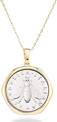 Miabella 18K 金纯银意大利真正 2-Lira Bee 硬币复古吊坠项链 女式 45.72 cm 链子 925 意大利制造