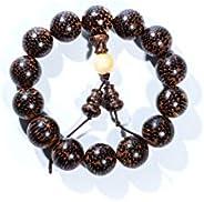 Qzoxx Mantra Man 女士藏佛教蛇木珠佛教佛教 Mala 冥想手腕手链瑜伽手链