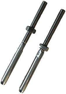 2 件不锈钢 316 Swage 螺柱 M6 螺纹端子船用级滑轮,适用于 0.32 厘米线绳电缆