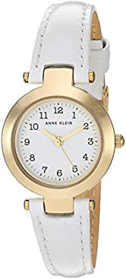 Anne Klein 女士易读金色皮革表带手表