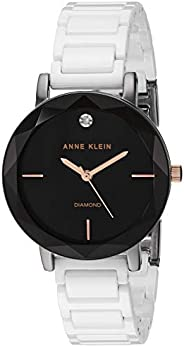 Anne Klein 安妮克莱因 女式 AK 钻石点缀陶瓷手链手表