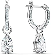 SWAROVSKI Attract Mini Hoop Pierced Earrings with Pear Shaped Clear Cut Crystal and Matching Pavé on a Rhodium