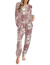 Pink Queen 女式 2 件套运动服套装扎染扎结套头衫和运动裤套装带口袋