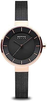 BERING 女士 太阳能手表 不锈钢表带 黑色 10(型号: 14631-166)