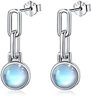 月光石耳环 925 纯银月光石吊坠耳钉首饰 适合女士女孩