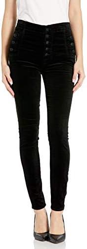 J Brand Jeans 女式 Natasha Sky 高修身天鹅绒长裤 黑色