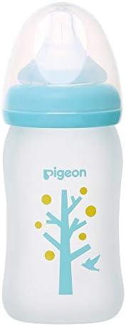 Pigeon 贝亲 宽口径玻璃奶瓶 外层硅胶保护涂层 耐热玻璃 160ml 0个月 SS号奶嘴 树 支持母乳喂养