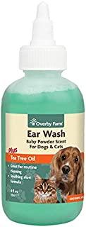 Overby 农场耳朵清洗剂 适用于狗和猫咪 | 茶树和芦荟油液体* | 温和耳蜡,杂物和异味 | *佳宠物耳朵清洁* | 适用于所有品种的耳朵清洁剂 | 114ml