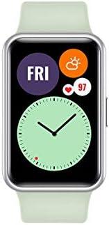 HUAWEI WATCH FIT 智能手表,1.6 英寸生動的 AMOLED 顯示屏,10 天電池壽命,96 種鍛煉模式,內置 GPS,5ATM,氧氣飽和度檢測,心率監測,*監測,薄荷綠