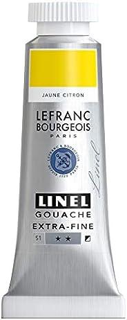 Lefranc Bourgeois 301158 Linel Gouache 特别精细、柔软的水彩颜料,色彩鲜艳度高,亮度适用于无条纹涂层,14毫升管装 - 柠檬黄