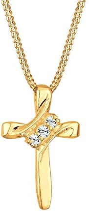 Elli 女士项链 十字架 宗教 镶嵌施华洛世奇® 925 纯银