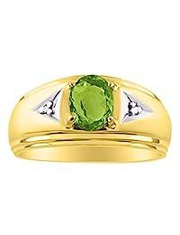 男士经典正品红宝石钻石戒指套装镀金银 925 七月诞生石  PERIDOT-August Birthstone