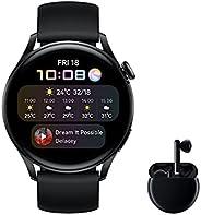 HUAWEI 华为 Watch 3 Active + Freebuds 3 黑色 – 智能手表 4G 带 1.43 英寸 AMOLED 触摸屏,eSIM适用于无线电话,3天电池续航时间,24/7,内置GPS,黑色