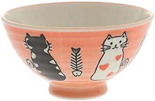 两个相同风格的日本寿寿糯猫饭碗装在同一盒中(红色 #130-637)