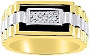 RYLOS 设计师戒指带钻石和玛瑙、石英或虎眼镶嵌黄金镀银 .925