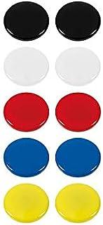 Westcott 磁贴,10 件装,30 毫米,圆形,每 2 个白色,黑色,红色,蓝色,黄色,E-10822 00