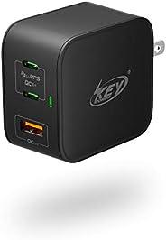 USB C 充電器 65W - Type C PD 充電器 GaN Tech USB C 壁式充電器帶雙 USB A,快速充電壁式充電器適配器帶可折疊插頭,適用于 MacBook Pro iPad Pro Nintend