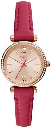 Fossil Carlie 迷你三指针镶嵌水晶皮革手表 ES5006