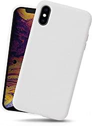iPhone Xs/iPhone X 手机壳,液体硅胶手机壳凝胶橡胶防震超薄外壳柔软超细纤维布内衬垫防刮全身保护套,适用于 iPhone Xs/X ,白色