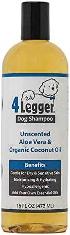 4Legger 认证有机芦荟洗发水 - 无香型 - 温和保湿 - 调节干燥、发痒、敏感性皮肤 - 美国制造 - 16 盎司