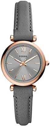 Fossil Women's Carlie Mini Stainless Steel and Leather Quartz W