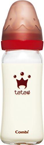 康贝 Combi teteo 哺乳喂奶 奶瓶耐热玻璃制 透明 240ml Mサイズ乳首付