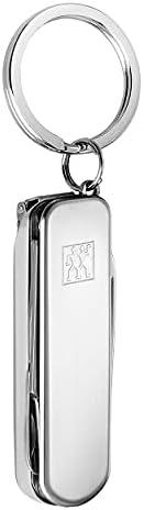 Zwilling 双立人 42450-001-0 不锈钢多功能修甲钥匙扣套装,含甲剪/甲钳/甲锉/钥匙扣 60mm,红色