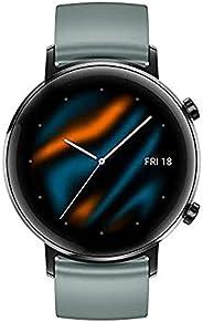 Huawei 华为 GT 2(42 毫米)智能手表,1.2 英寸 AMOLED 显示屏, 3D 玻璃屏幕 1 周电池寿命 GPS 15 种运动模式 实时心率监测,湖青色