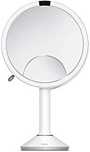 simplehuman ST3038 20 厘米感应镜子Trio 触摸控制亮度 白色不锈钢