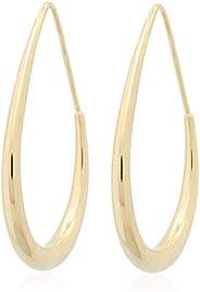 14K 镀金圆形设计简约气质、酷炫风格、时尚感、法国尼切抛光耳环,带 S925 银针,适合女士女孩礼物情人节/生日/周年纪念/母亲节
