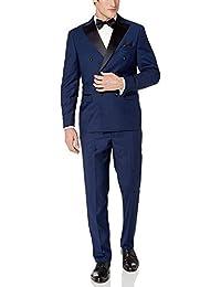 Adam Baker 男式修身单扣缎面披肩领两件燕尾服套装 - 有多种颜色可选