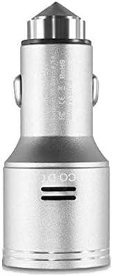 ibdone 多功能汽车一氧化碳检测器,快速车载充电器,带双 USB 智能端口(QC 3.0 端口和 USB C 型端口),车载 CO 报警检测器,带生命*锤(银色)