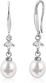 女式时尚珍珠耳环 | 淡水珍珠 14K 金吊坠耳环 | 无镍耳环珍珠珠宝