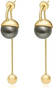 18k 镀金耳环女士和女孩灰色珍珠流苏金色串珠时尚风格金色可爱长耳环银色 925(针)送给母亲和情人节生日礼物 14k 10k 珠宝