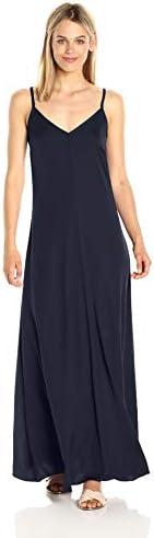 A√X Armani Exchange 女式细肩带 V 领编织超长连衣裙