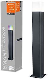 LEDVANCE 智能 LED 花园灯 落地灯 带 WiFi 技术 适用于室外使用 RGB 颜色可变 深铝 50 厘米 高 兼容 Google 和 Alexa 语音控制 智能 WIFI CUBE 50 厘米