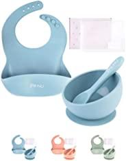 B:NU 优质婴儿喂食套装 - 不含双酚 A、PVC、* * 硅胶围兜、吸盘碗、勺子、储物旅行袋(其他蓝色)