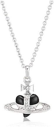 [Vivienne Westwood] 黄铜 Diamante Heart 心形项链 63020226/02W379 黑色